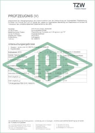 Trinkwasser Deutschland Zertifikat