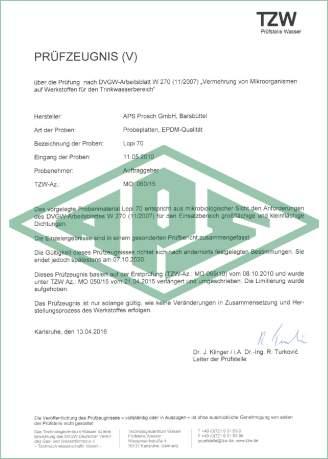 Vermehrung von Mikroorganismen auf Werkstoffen für den Trinkwasserbereich Deutschland Zertifikat