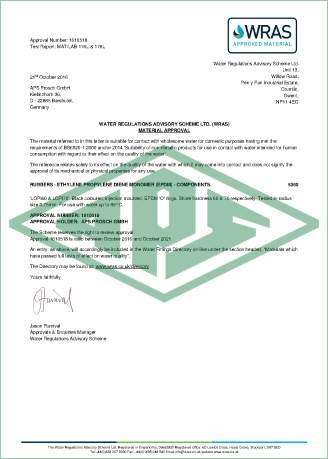 Trinkwasser Großbritannien Zertifikat
