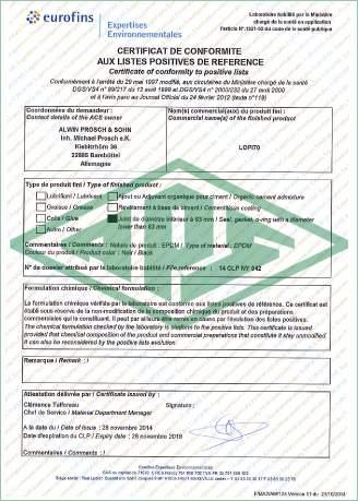 Trinkwasser Frankreich Zertifikat