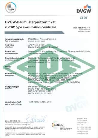 Werkstoffe und Komponenten für Trinkwasser Deutschland Zertifikat